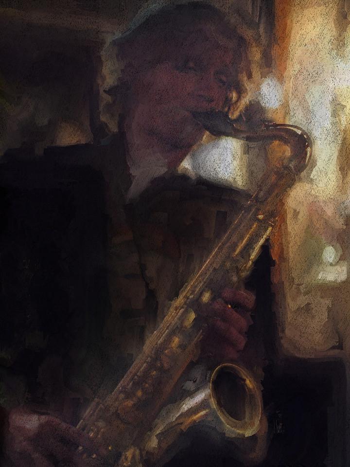 "Jazz Dark.<br /> Saxplayer Jakob Dinesen at ""Cafe Svejk"", Copenhagen, Denmark.<br /> Photo painted with digital sargent brush in Corel Painter + texture layers."
