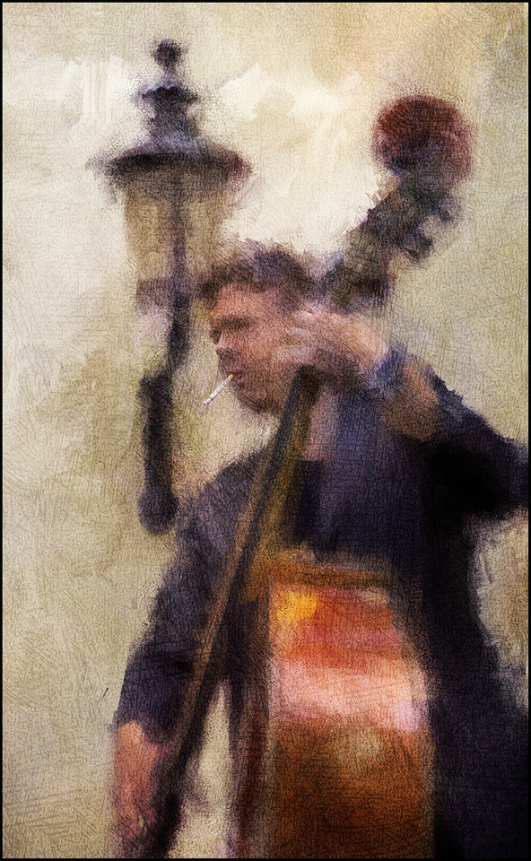 Heads.<br /> Daniel Franck playing bass in a Christianshavn backyard during the 2011 Copenhagen Jazz Festival.<br /> Photo painted with digital impressionist chalk brush in Corel Painter + texture layers.