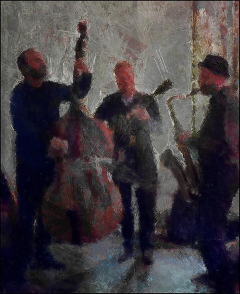 Dusk Jazz.<br /> Kasper Tagel: bass - Regin Fuhlendorf: guitar - Michael Blicher: sax at Glamourpuss bar, Copenhagen.<br /> Photo painted with digital pen in FotoSketcher + texture layer.