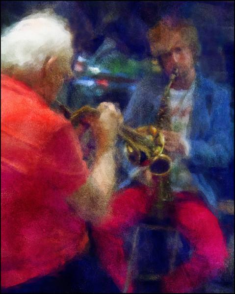 Brass Kiss.<br /> Valdemar Rasmussen: flugelhorn and Mads Mathias: sax at Cafe Mæt, Copenhagen.<br /> Photo painted with digital impressionist chalk brush in Corel Painter + texture layers.