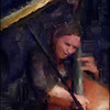 "Bass in the Piano Trap. Morten Ankarfeldt; bass at <a href=""http://www.paradisejazz.dk/""target=""_blank"">Paradise Jazz</a>, Huset, Copenhagen. Photo painted with digital impressionist sargent brush in Corel Painter + texture layers."