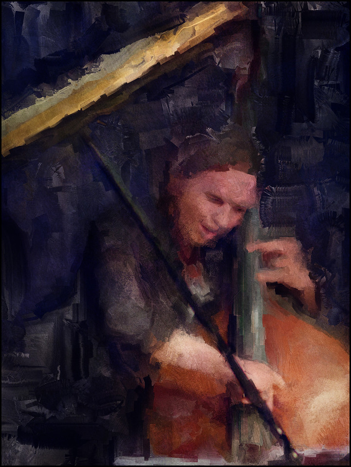 """Bass in the Piano Trap. Morten Ankarfeldt; bass at <a href=""""http://www.paradisejazz.dk/""""target=""""_blank"""">Paradise Jazz</a>, Huset, Copenhagen. Photo painted with digital impressionist sargent brush in Corel Painter + texture layers."""