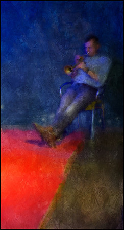 "Red Carpet. Thomas Fryland: trumpet at <a href=""http://www.paradisejazz.dk/""target=""_blank"">Paradise Jazz</a>, Huset, Copenhagen. Photo painted with digital impressionist chalk brush in Corel Painter + texture layers."