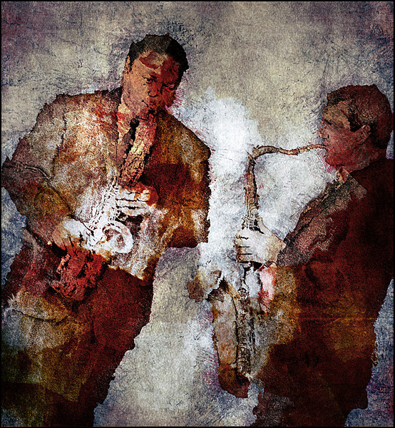 Sax Cloud.<br /> Vincent Herring and Eric Alexander: sax at Paradise Jazz Club, Copenhagen.<br /> Photo painted with digital black-white-red pen in PostworkShop + texture layers.