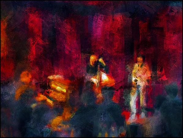 Red Room.<br /> Christina von Bûlow: sax - Søren Kristiansen: piano - Jesper Lundgaard: bass at Jazz House, Copenhagen.<br /> Photo painted with digital impressionist chalk brush in Corel Painter + texture layers.