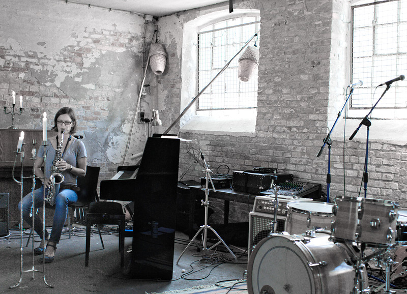 Apart from the missing band, I`m cool.<br /> Laura Toxværd: sax, solo, at 5e/ILK, the 2013 Copenhagen Jazz Festival.<br /> Photo manipulated in Corel Paint Shop Pro.