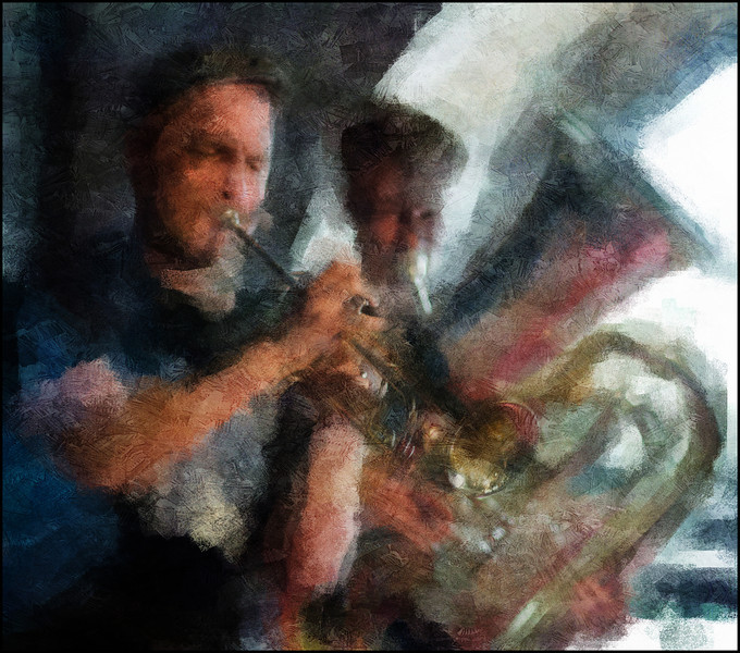 Little Big Horn.<br /> Tobias Wiklund: trumpet and Kristian Tangvik:tuba featured by the Everything Trio at Huset during the Copenhagen 2012 Jazz Festuval.<br /> Photo painted with digital impressionist chalk brush in Corel Painter + texture layers.