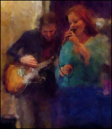 Up Beat, down Tone.<br /> Marie Ingerslev: vocal and Jeppe Holst: guitar at Bartof Cafe, Copenhagen.<br /> Photo painted with digital chalk brush in Corel Painter + texture layers..