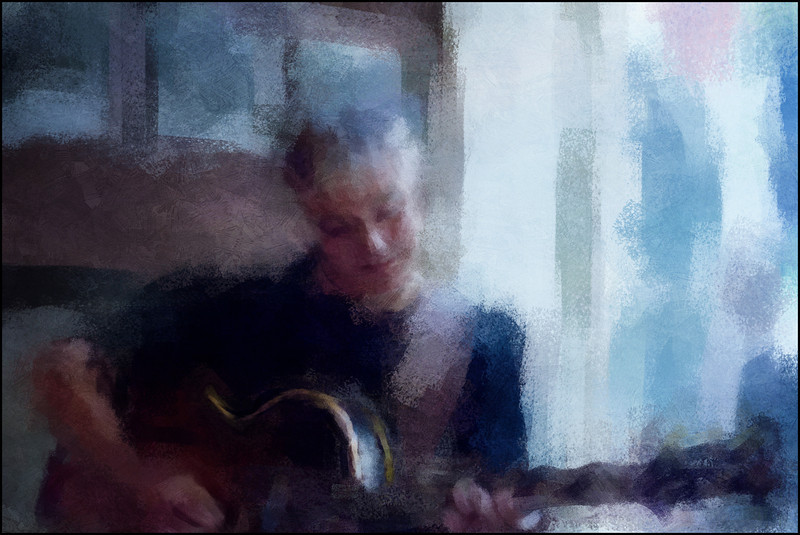 Fading Tones.<br /> Christian Bak: guitar at Sabines Cafeteria during the Copenhagen 2012 Jazz Festival.<br /> Photo painted with digital impressionist chalk brush + texture layers.
