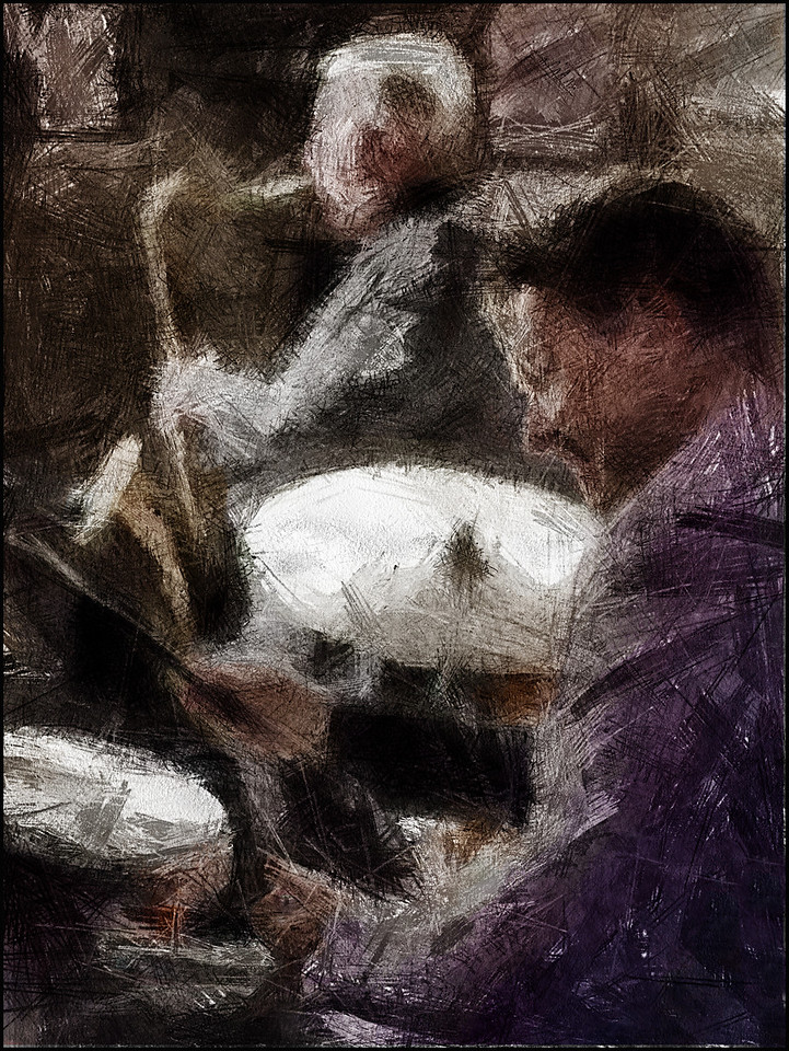 Drummer´s Set.<br /> Kristian Leth: drum and Scot Hamilton: sax at JazzCup, Copenhagen.<br /> Photo painted with digital pencil brush in Dynmaic Auto Painter.