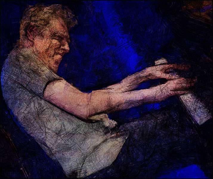 Lean Piano.<br /> Thomas Clausen at Paradise Jazz, Huset, Copenhagen.<br /> Photo painted with digital impasto oil brush in Corel Painter layered with digital pen sketch in Dynamic Auto Painter + texture layer.