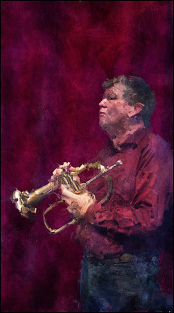 """Silent Solo. Henrik Bolberg: trumpet at <a href=""""http://www.jazzklubben.dk/jazzcup.asp""""target=""""_blank"""">Jazz Cup</a>, Copenhagen. Photo painted with digital impressionist impasto brush in Corel Painter + texture layers."""