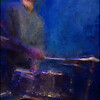 In the Beat.<br /> Otis Brown III: drums  of Anne Mette Iversen Quartet at Paradise Jazz Club, Copenhagen.<br /> Photo painted with digital sargent brush in Corel Painter + texture layers.