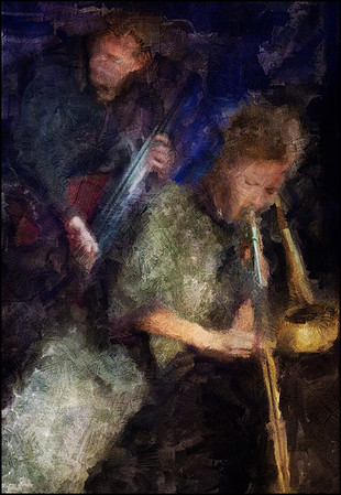 Corner Duo.<br /> Lis Wessberg: trombone and Jens Skov Olsen: bass at Paradise Jazz, Huset, Copenhagen.<br /> Photo painted with digital sargent brush in Corel Painter + texture layers.