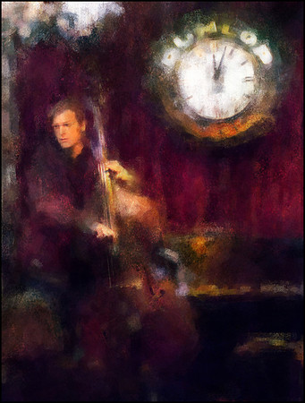 Lonely Bass.<br /> Jens Skou,bass at cafe Bartof, Copenhagen.<br /> Photo painted with digital chalk in Corel Painter + texture layers.