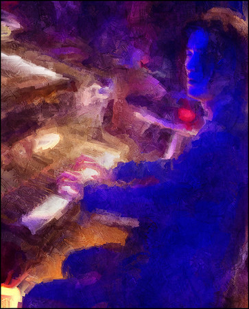 """Mood Indigo. Jacob Park: piano at <a href=""""http://www.paradisejazz.dk/""""target=""""_blank"""">Paradise Jazz</a>, Huset, Copenhagen. Photo painted with digital impressionist sargent brush in Corel Painter + texture layers."""