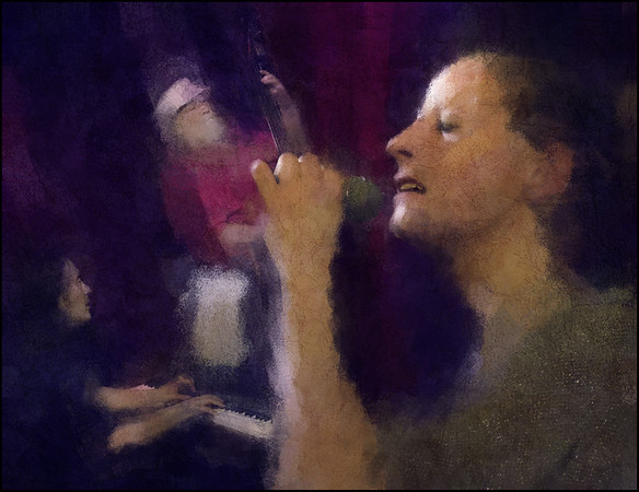 Light and Voice.<br /> Sweet Mary, vocal - Jacob Park, piano - Hugo Rasmussen, bass, at Copenhagen Jazz House.<br /> Photo painted with digital impressionist chalk brush in Corel Painter + texture layers.