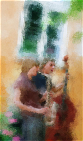 Morning Impression.<br /> Kristina von Bülow: sax and Daniel Franck: bass in a Christianshavn backyard early morning during the 2013 Copenhagen Jazz Festival.<br /> Photo painted with digital impressionist brush in Corel Painter + texture layer.