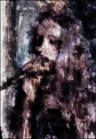 Shimmering Tones.<br /> Miss Mary at Kind of Blue Bar, Copenhagen.<br /> Photo painted with digital charcoal brush in Dynamic Auto Painter + texture layers.