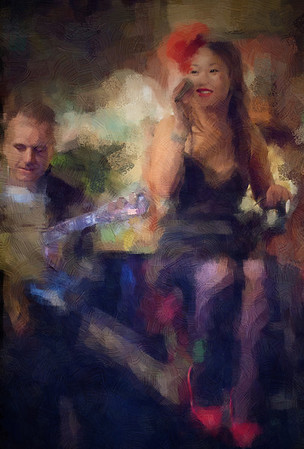 """Red Shoes.<br /> Birgitte Soojin, vocal and Henrik Bay, guitar at """"Cafe Intime"""", Copenhagen, Denmark.<br /> Photo painted with impressionist chalk in Corel Painter + texture layers."""