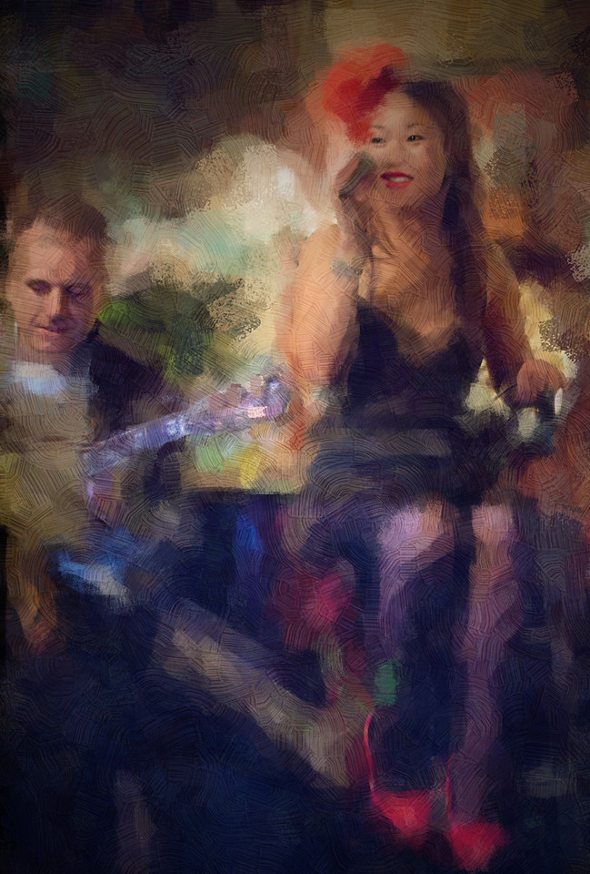 "Red Shoes.<br /> Birgitte Soojin, vocal and Henrik Bay, guitar at ""Cafe Intime"", Copenhagen, Denmark.<br /> Photo painted with impressionist chalk in Corel Painter + texture layers."