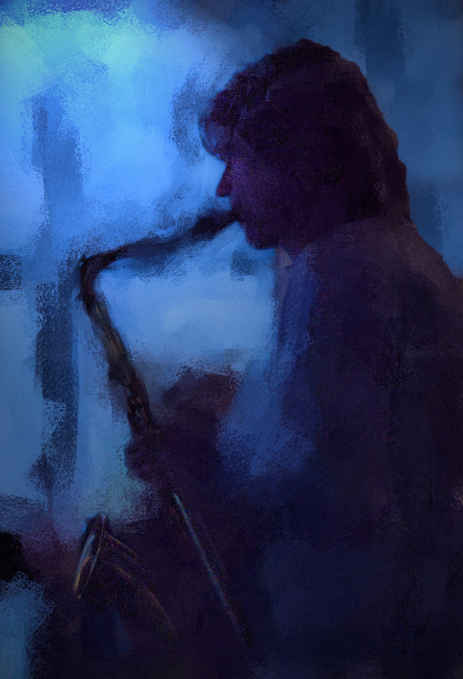 Blue Shadow.<br /> Jakob Dinesen: sax at PH Cafeen, Copenhagen.<br /> Photo painted with digital impressionist chalk brush in Corel Painter.