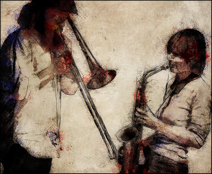 Up Front.<br /> Mads Hyhme: trombone and Christina von Bülow: sax at Paradise Jazz Club, Copenhagen.<br /> Photo painted with digital black-white-red pen in PostworkShop + texture layers.