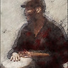 Handy.<br /> Eliel Lazo on congas at JazzCup, Copenhagen.<br /> Photo painted with digital chalk and pen in PostworkShop + texture layers.