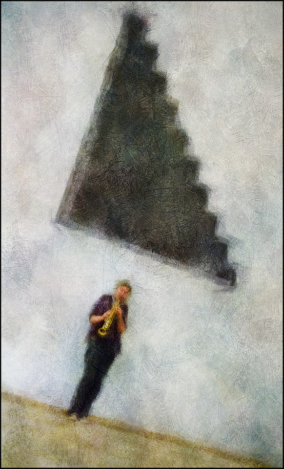 "Scale. Lotte Anker, sax at <a href=""https://www.facebook.com/Cafecharlottenborg""target=""_blank"">Charlottenborg</a>, Copenhagen. Photo painted with digital impressionist chalk brush in Corel Painter + texture layers."