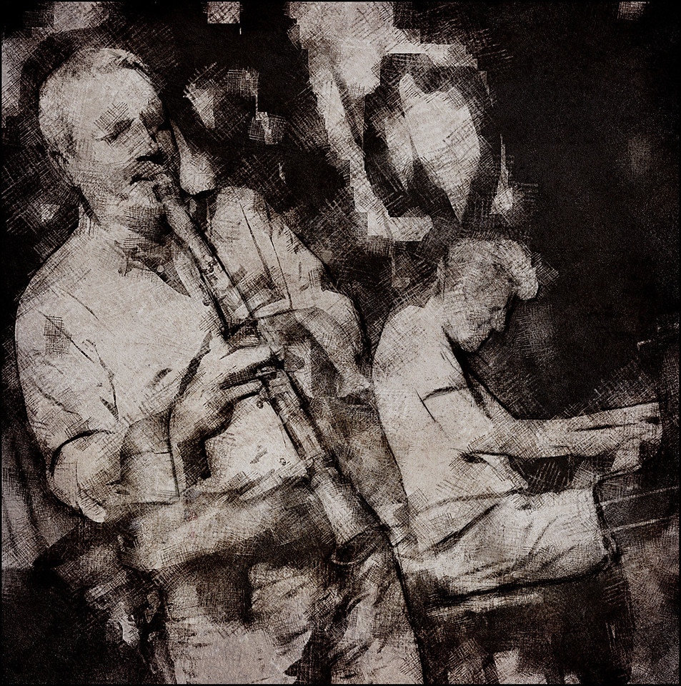 Music Patches.<br /> Nico Gori: clarinet and Thomas Clausen: piano at Paradise Jazz Club, Copenhagen.<br /> Photo painted with digital gray chalk and pen in Postworkshop + texture layers.