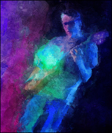 Light Riff.<br /> Tao Højgaard: guitar at Kulturhuset Islands Brygge, Copenhagen.<br /> Photo painted with digital impressionist sargent brush in Corel Painter + texture layers.