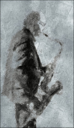 Rock Light.<br /> Bob Rockwell: sax at Paradise Jazz Club, Copenhagen.<br /> Photo painted with digital charcoal brush in PostworkShop + texture layers.