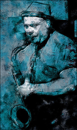 """Zax.<br /> Deniss Pahkevitch: sax at Kind of Blue bar, Copenhagen.<br /> Photo painted with digital pen + """"blobs"""" filter in Dynamic Auto Painter."""