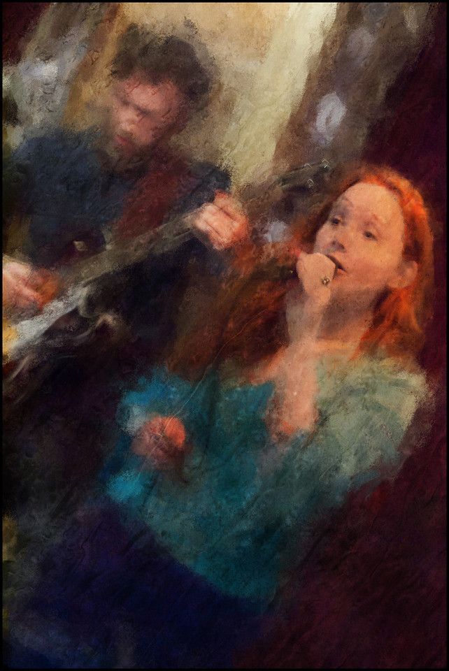 Parallel.<br /> Marie Ingerslev: vocal and Jeppe Holst: guitar at Bartof Cafe, Copenhagen.<br /> Photo painted with digital chalk brush in Corel Painter + texture layers.