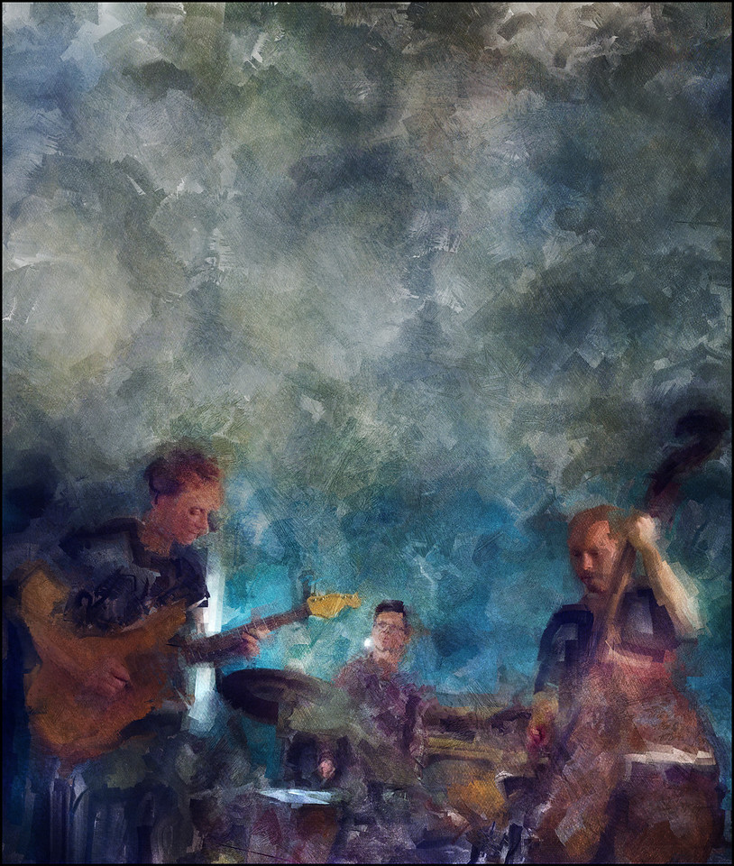 """Cloudy Jazz. Christian Frank: guitar, Claus Kaarsgaard: bass and Carsten Landors: drums at Kind of Blue Bar, Copenhagen. Photo painting made with digital sargent brush in Corel Painter + texture layers. Visit <a href=""""http://www.christianfrank.dk/""""target=""""_blank"""">Frank´s website</a>"""