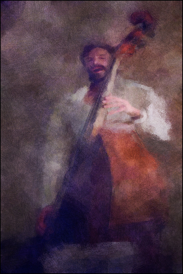 """Jonas Westergaard, bass at <a href=""""http://www.facebook.com/pages/KIND-OF-BLUE/115173875160000""""target=""""_blank"""">Kind of Blue</a> bar, Copenhagen. Photo paintes with impressionist digital chalk brush in Corel Painter + texture layers."""