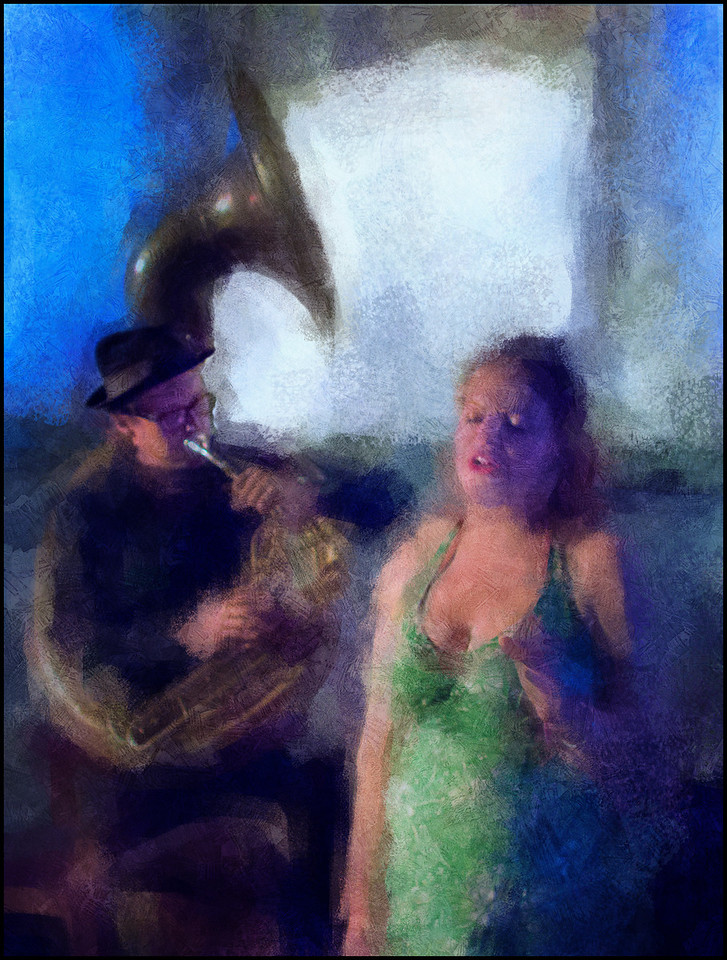 Basin Street Blues.<br /> Elisabeth Børch of Kristian´s Ragtime Band singing standards and traditionals with Henrik Silver on tuba at Kulturcentret Assistents during the Copenhagen 2012 Jazz Festival.<br /> Photo painted with digital impressionist chalk brush in Corel Painter + texture layers.