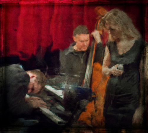 """Reverence.<br /> Christian Lund keyboard, Niels Lichtenberg bass and Britt Hein vocal at """"Jazz Cup"""", Copenhagen, Denmark.<br /> Photo painted with smeary oil brush in Corel Painter + texture layers."""