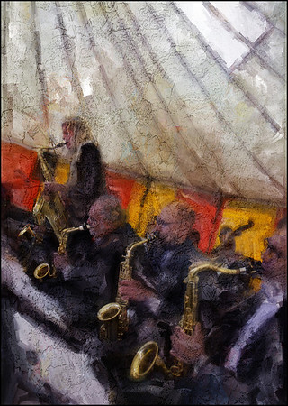 """Sax Line. <a href=""""http://www.bigapplebigband.dk/""""target=""""_blank"""">Big Apple Big</a> Band featuring Christina Dahl on sax, Copenhagen. Concert in a big tent sponsored by <a href=""""http://gottfried.dk/""""target=""""_blank"""">i. k. Gottfried</a> wind instruments Photo painted with digital sargent brush in Corel Painter + texture layers."""