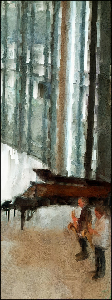 Parade for a Deserted Piano.<br /> Hans Ulrik and Benjanin Koppel, sax at Statens Museum for kunst (the National Gallery), Copenhagen.<br /> Photo painted with digital sargent brush in Corel Painter + texture layers.