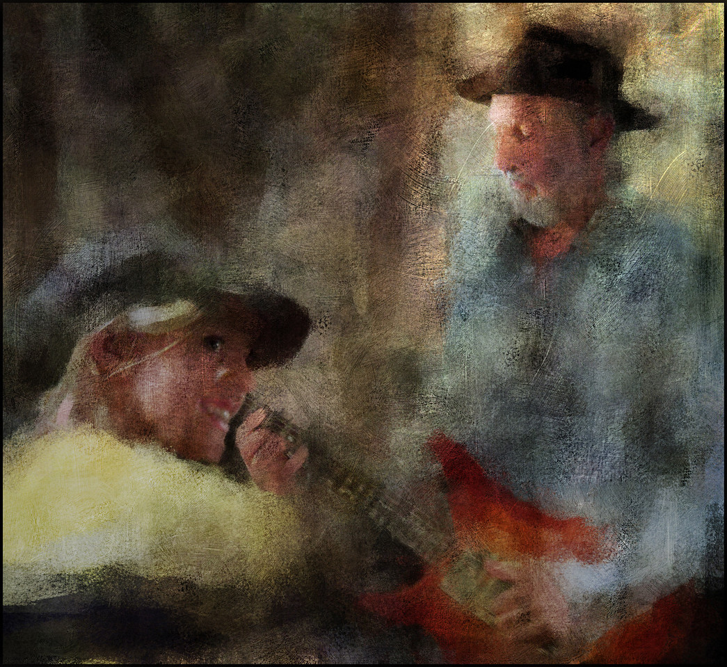 """Old Guitar , Young Smile. Aske Jacoby, guitar + guest at <a href=""""http://www.facebook.com/pages/KIND-OF-BLUE/115173875160000""""target=""""_blank"""">Kind of Blue Bar</a>, Copenhagen. Photo painted with impressionist digital chalk brush in Corel Painter + texture layers."""