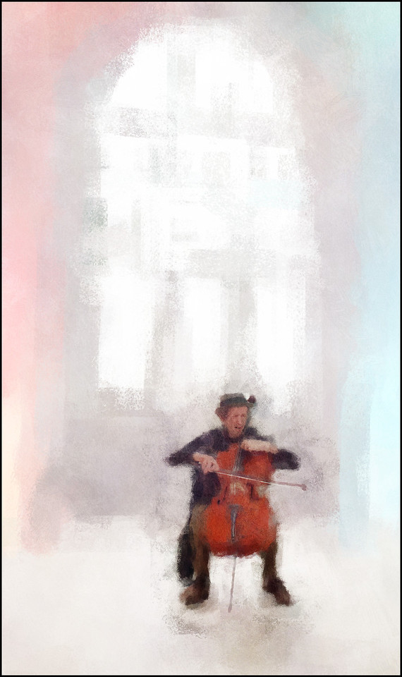 Light Stroke.<br /> Tristan Hornsinger: cello at Charlottenborg, Copenhagen.<br /> Photo painted with digital impressionist chalk brush in Corel Painter + texture layers.