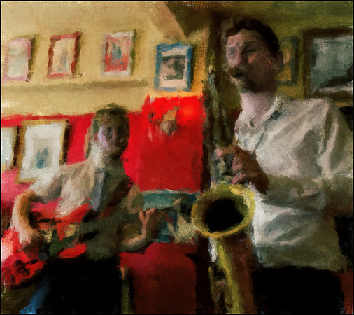Jazz in Red.<br /> Chris Larsen: sax and Mads Bibow: guitar at Tango y Vinos wine bar, the 2013 Copenhagen Jazz Festival.<br /> Photo painted with digital rough chalk in PostworkShop + texture layer.