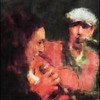 Duet in Red.<br /> Walter Clerici: guitar with guest vocal at the Django Reinhard Jam in Christianshavns Beboerhus, Copenhagen.<br /> Photo painted with digital impressionist chalk brush in Corel Painter + texture layers..