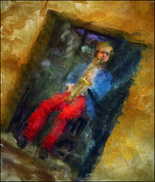 Elevating.<br /> Mads Mathias: sax at Cafe Mæt, Copenhagen.<br /> Photo painted with digital sargent brush in Corel Painter + texture layers.