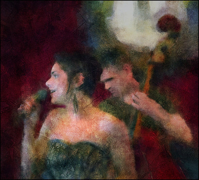 Bass Back.<br /> Camilla Simplicio, vocal and Thomas Meldgaard, bass of Jazzabrasil at Bartof Cafe, Copenhagen.<br /> Photo painted with digital impressionist chalk brush in Corel Painter + texture layers.