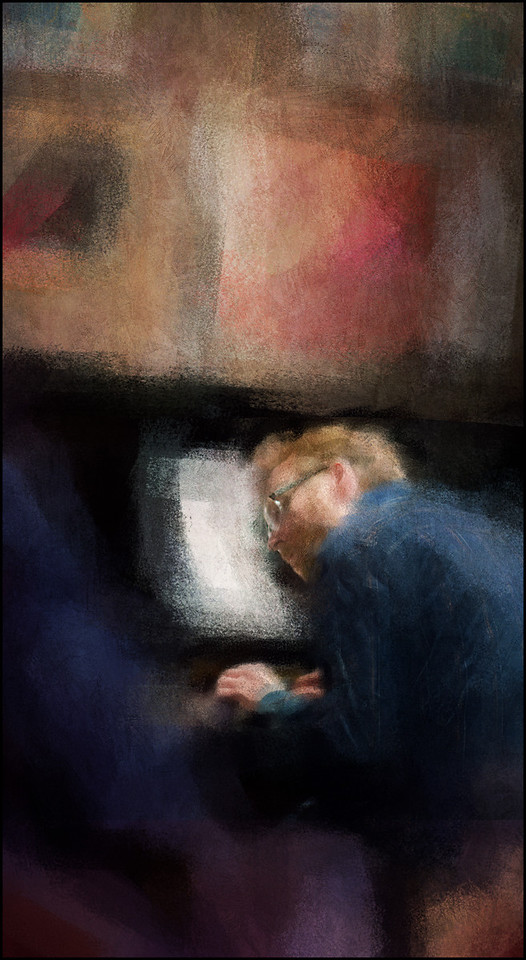 """Listening. Marko Martinovic: piano at <a href=""""http://www.jazzklubben.dk/jazzcup.asp""""target=""""_blank"""">Jazz Cup</a>, Copenhagen. Photo painted with digital impressionist chalk brush in Corel Painter + texture layers."""