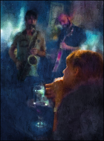 """Deep. Anders Banke: sax and Mark Solborg; guitar at <a href=""""http://kindofblue.dk/""""target=""""_blank"""">Kind of Blue</a>, Copenhagen. Composite photo painted with digital impressionist chalk in Corel Painter."""