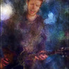 "Mikkel Ploug, guitar at <a href=""http://www.facebook.com/pages/KIND-OF-BLUE/115173875160000""target=""_blank"">Kind of Blue</a> bar, Copenhagen. Photo painted with digital chalk brush in Corel Painter + texture layers."