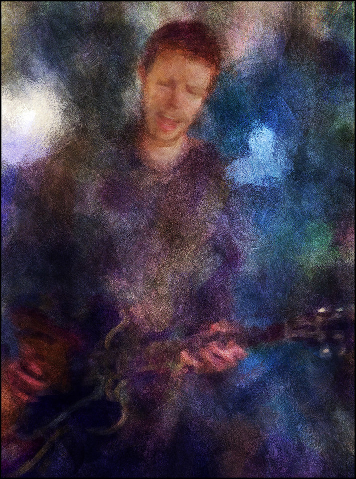"""Mikkel Ploug, guitar at <a href=""""http://www.facebook.com/pages/KIND-OF-BLUE/115173875160000""""target=""""_blank"""">Kind of Blue</a> bar, Copenhagen. Photo painted with digital chalk brush in Corel Painter + texture layers."""